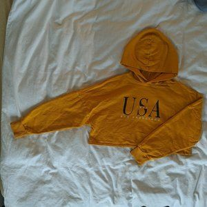 Sweaters - Cropped Yellow Hoodie | USA San Fransisco